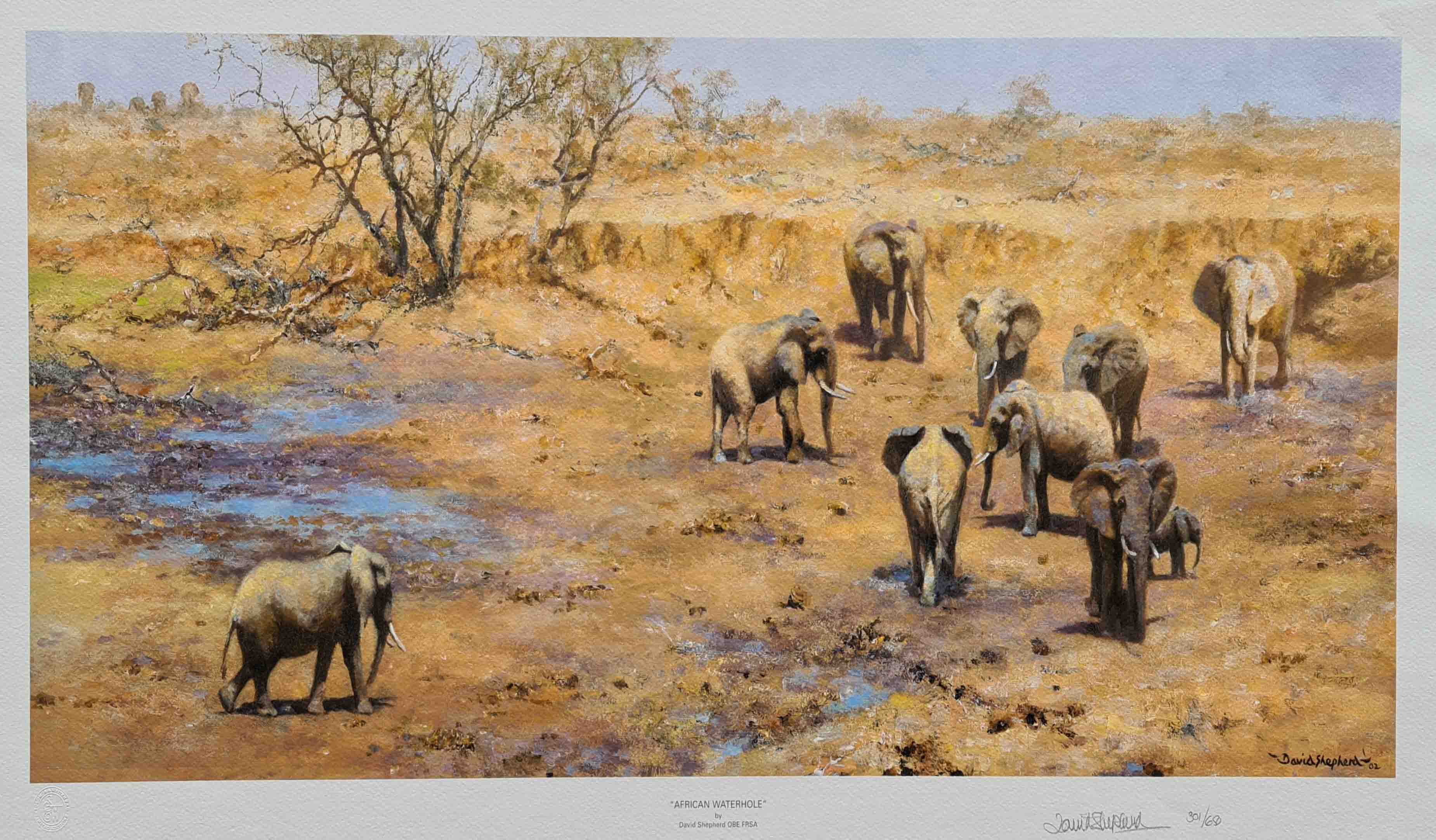 david shepherd african waterhole signed print