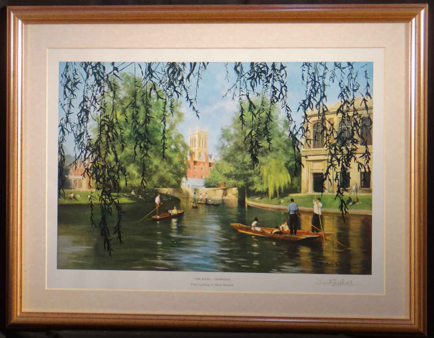 david shepherd signed print, Cambridge, the backs