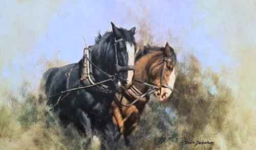 david shepherd, Captain and Sergeant, horses, signed prints