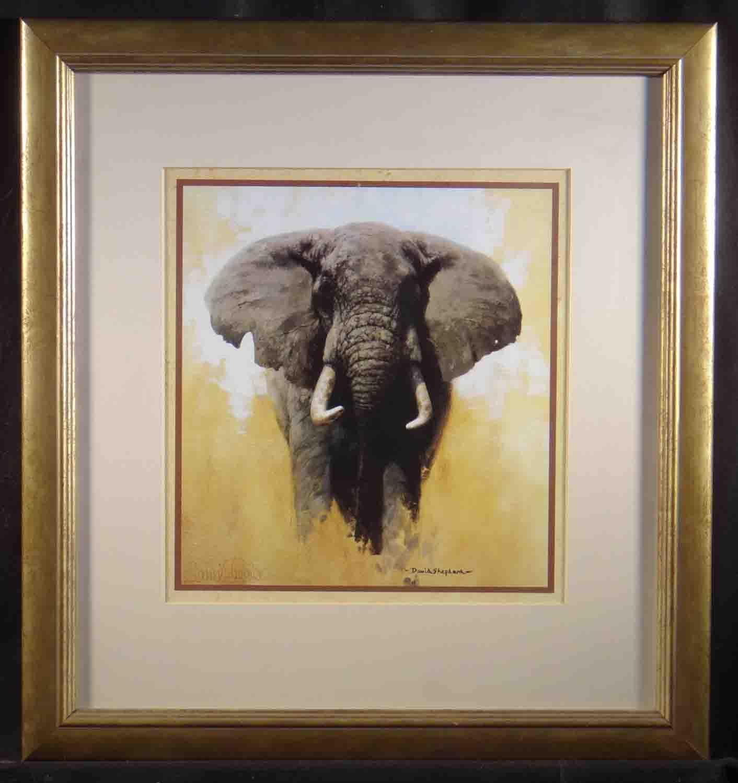 david shepherd elephant, signed, framed print