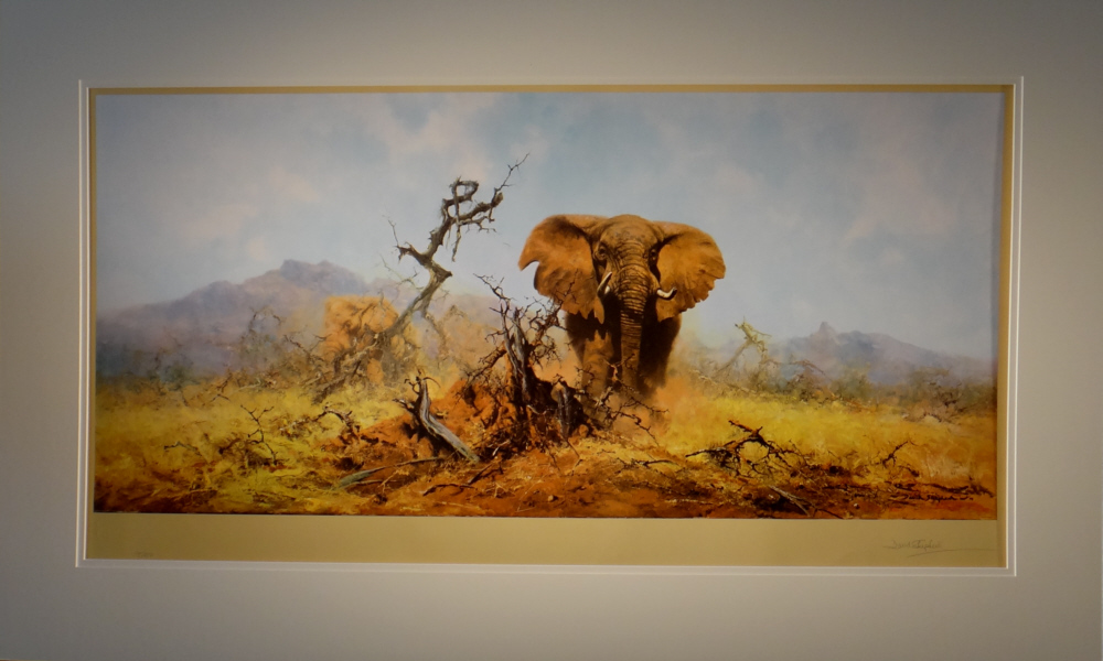david shepherd, elephant and anthill, signed limited edition print