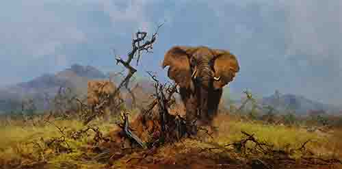 david shepherd elephant and anthill, elephants , signed, limited edition, print