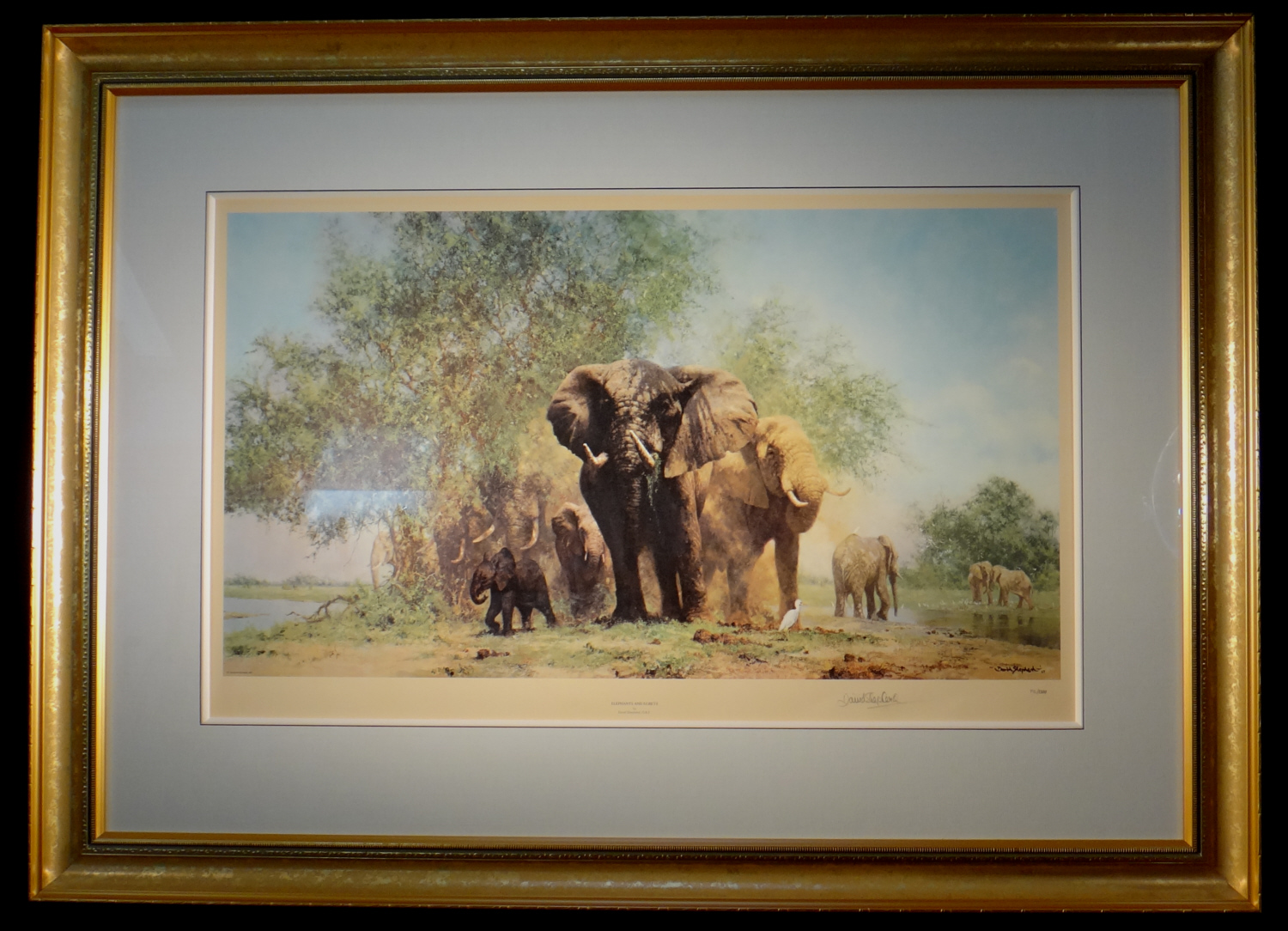 david shepherd, Elephants and Egrets, signed limited edition print