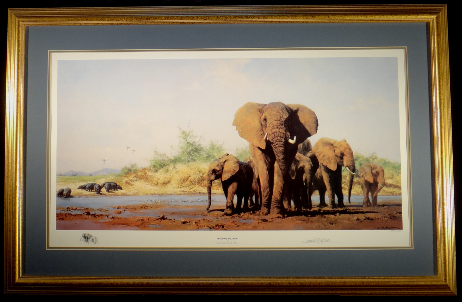 david shepherd, signed limited edition print, Evening in Africa