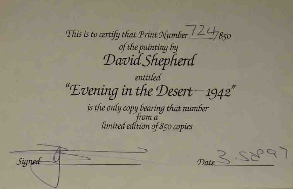 david shepherd, limimited edition pront, Evening in the Desert, rear