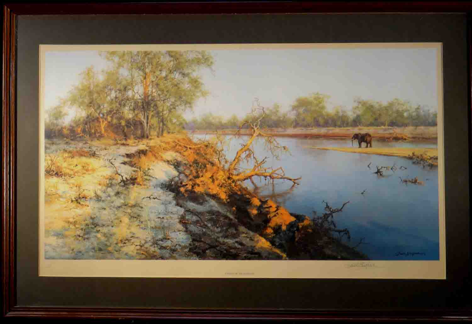 david shepherd, evening of the elephant, signed limited edition print