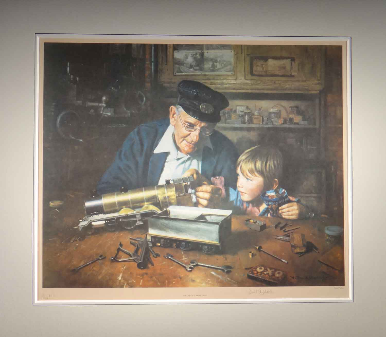 david shepherd, signed limited edition, Grandpa's workshop