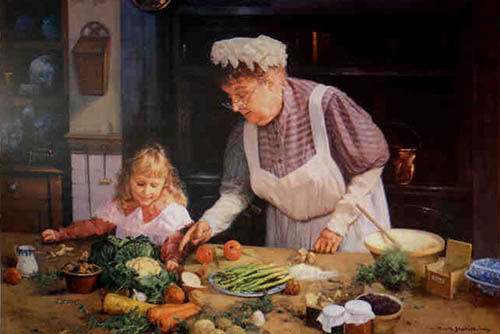 david shepherd, Grannie's kitchen, print