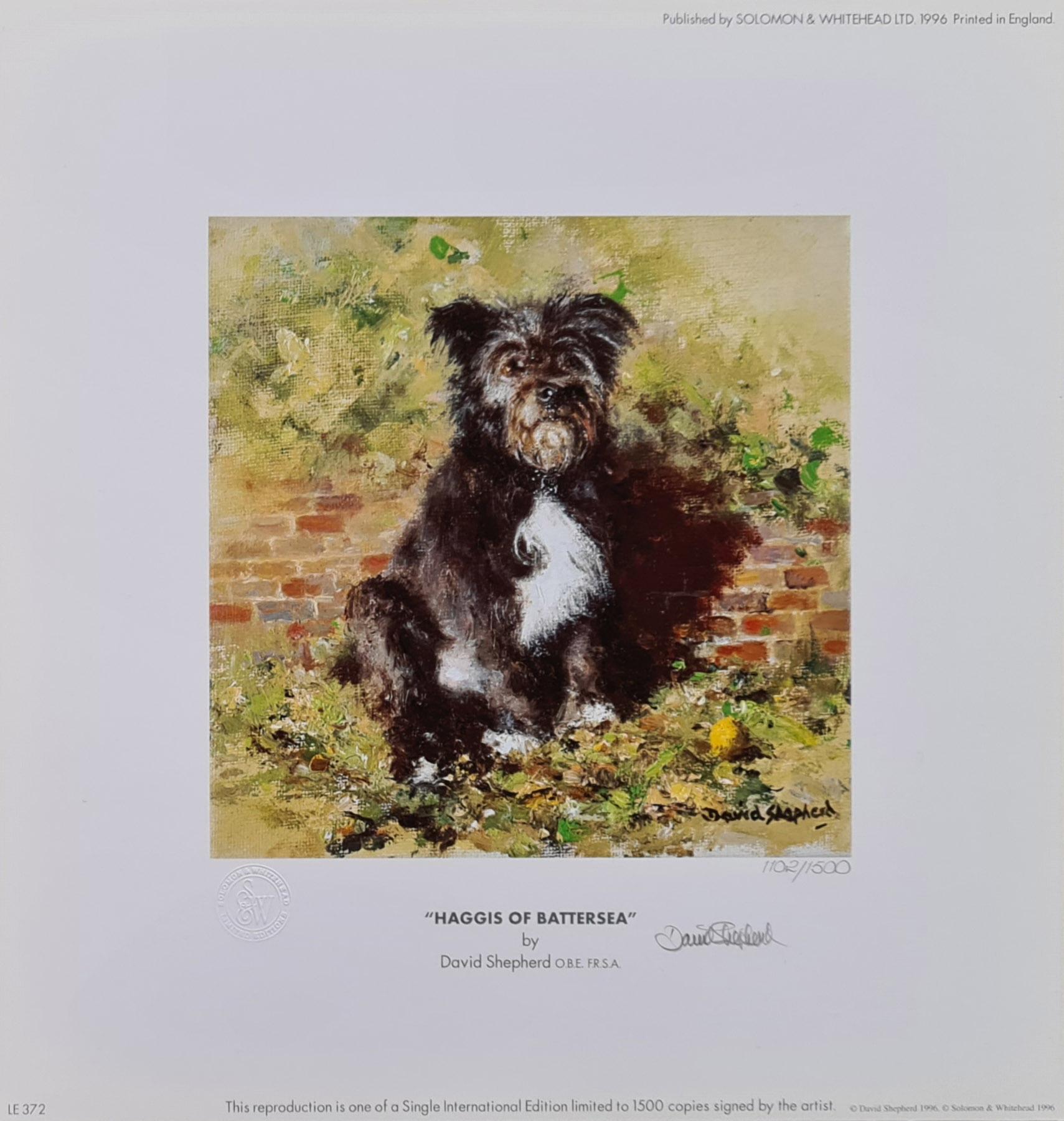 shepherd Haggis of Battersea dog signed print