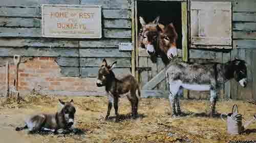 david shepherd Happy home for Donkeys prints