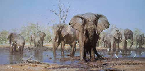david shepherd happy time elephants print