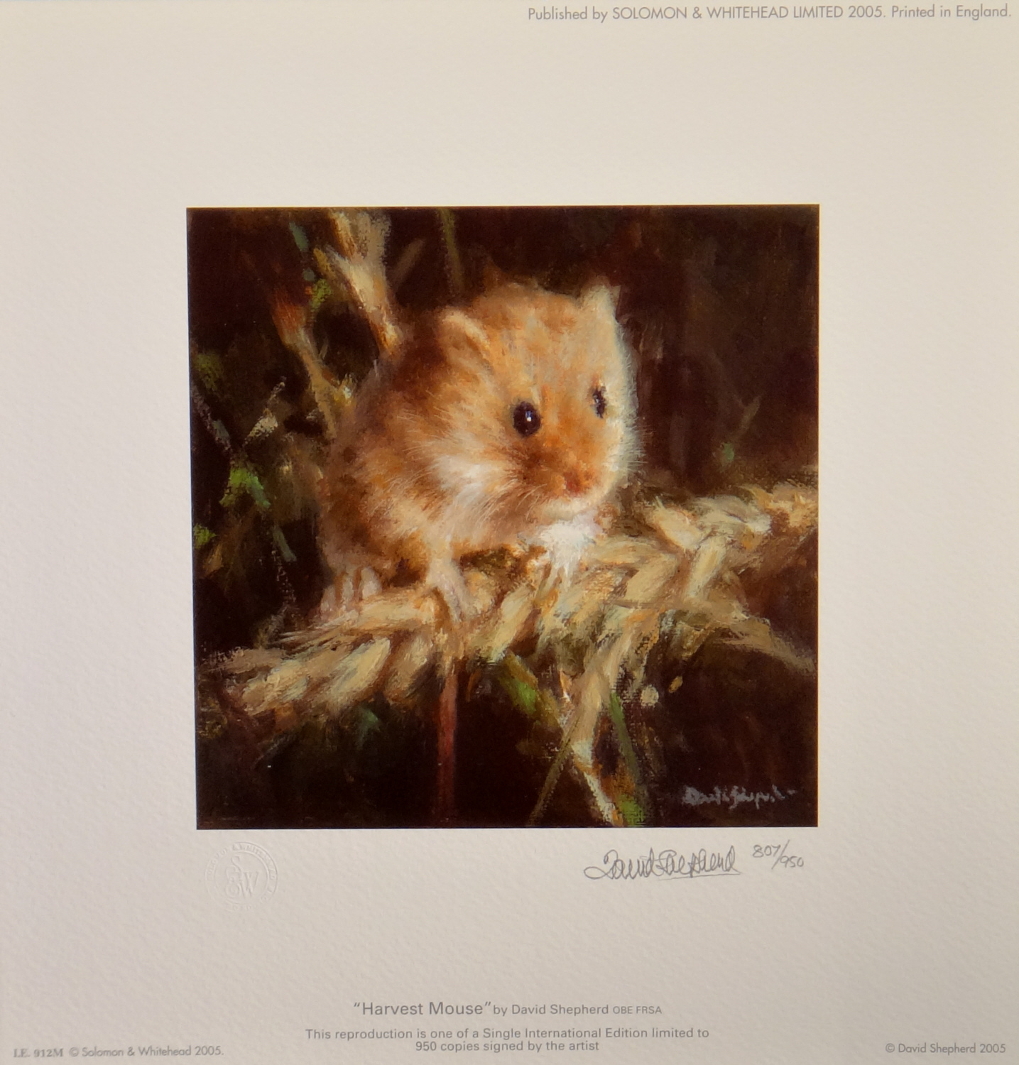 david shepherd, Harvest mouse, print