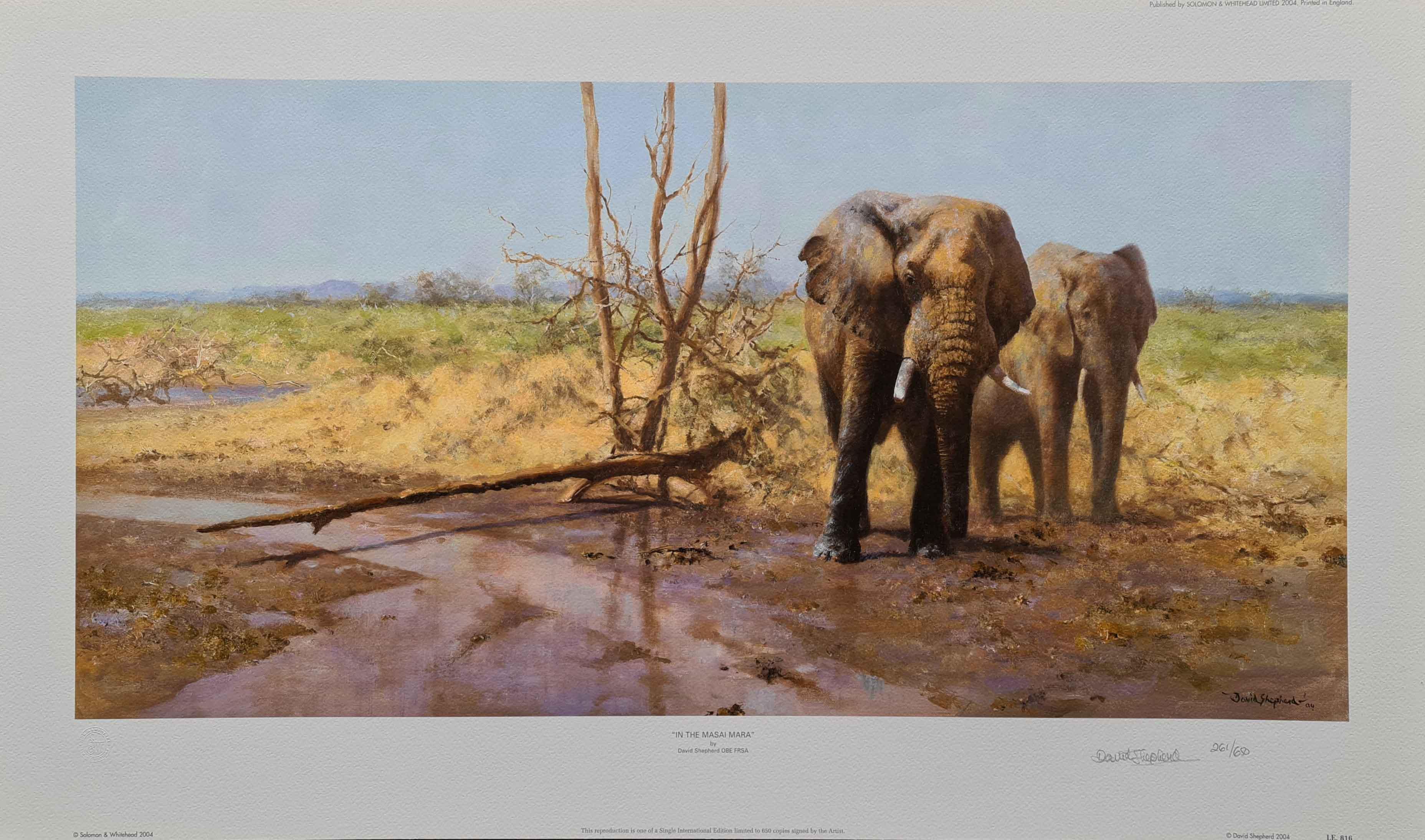 david shepherd, signed limited edition print, in the Masai Mara
