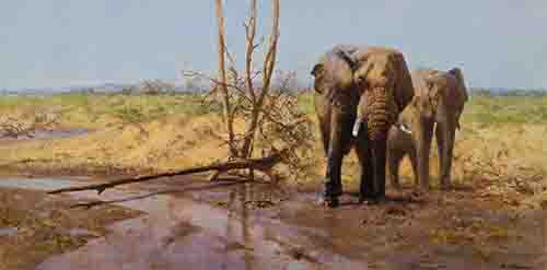 david shepherd in the masai mara elephants, signed, limited edition, print