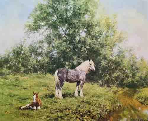 david shepherd, Lazy Hazy Days of Summer, horses, signed print