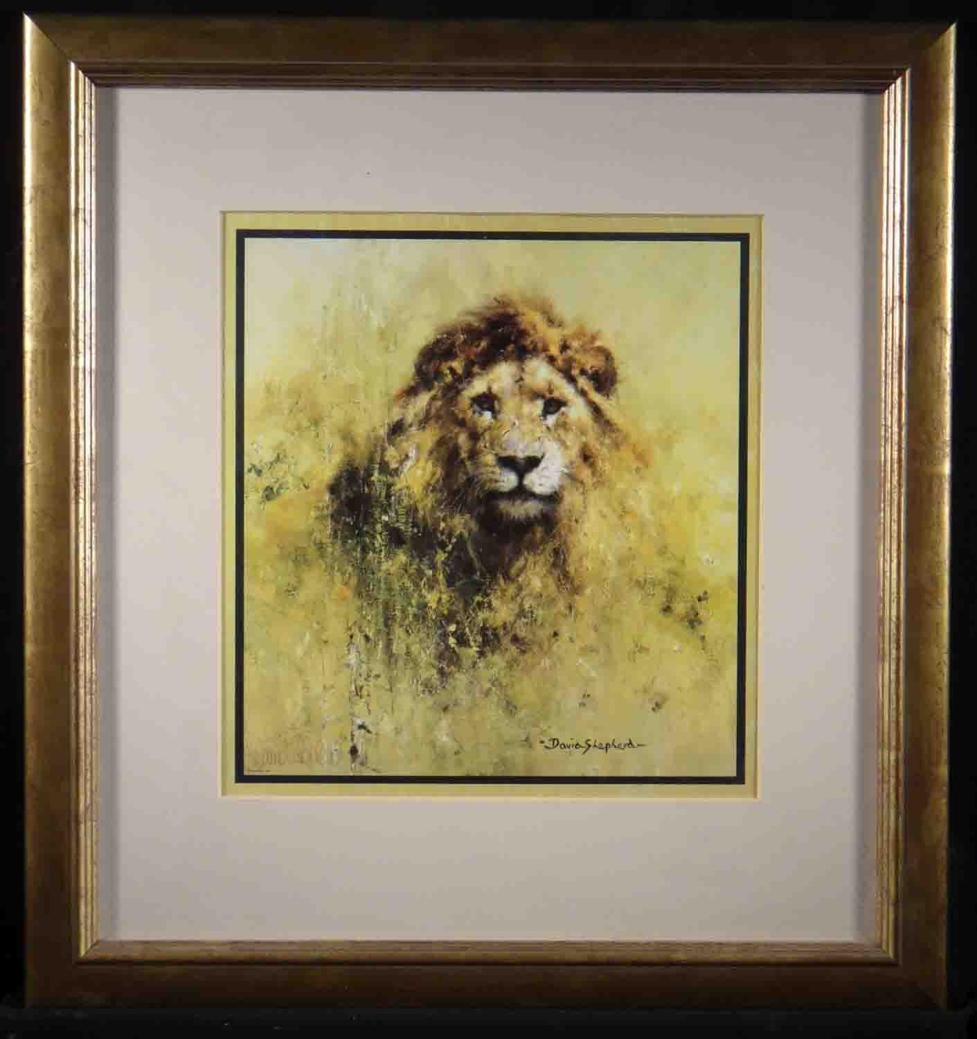 david shepherd, lion, signed, framed print