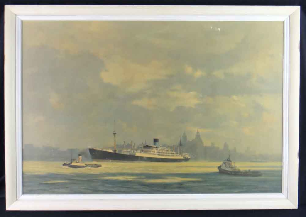david shepherd  liverpool mersey boat print framed