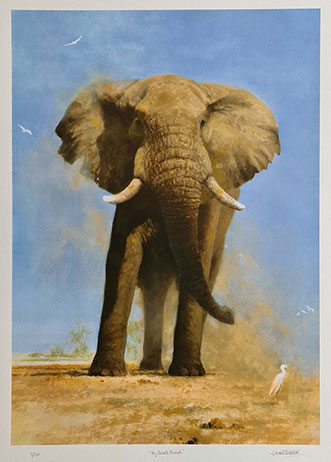 David Shepherd, silkscreen, my savuti friend, elephants