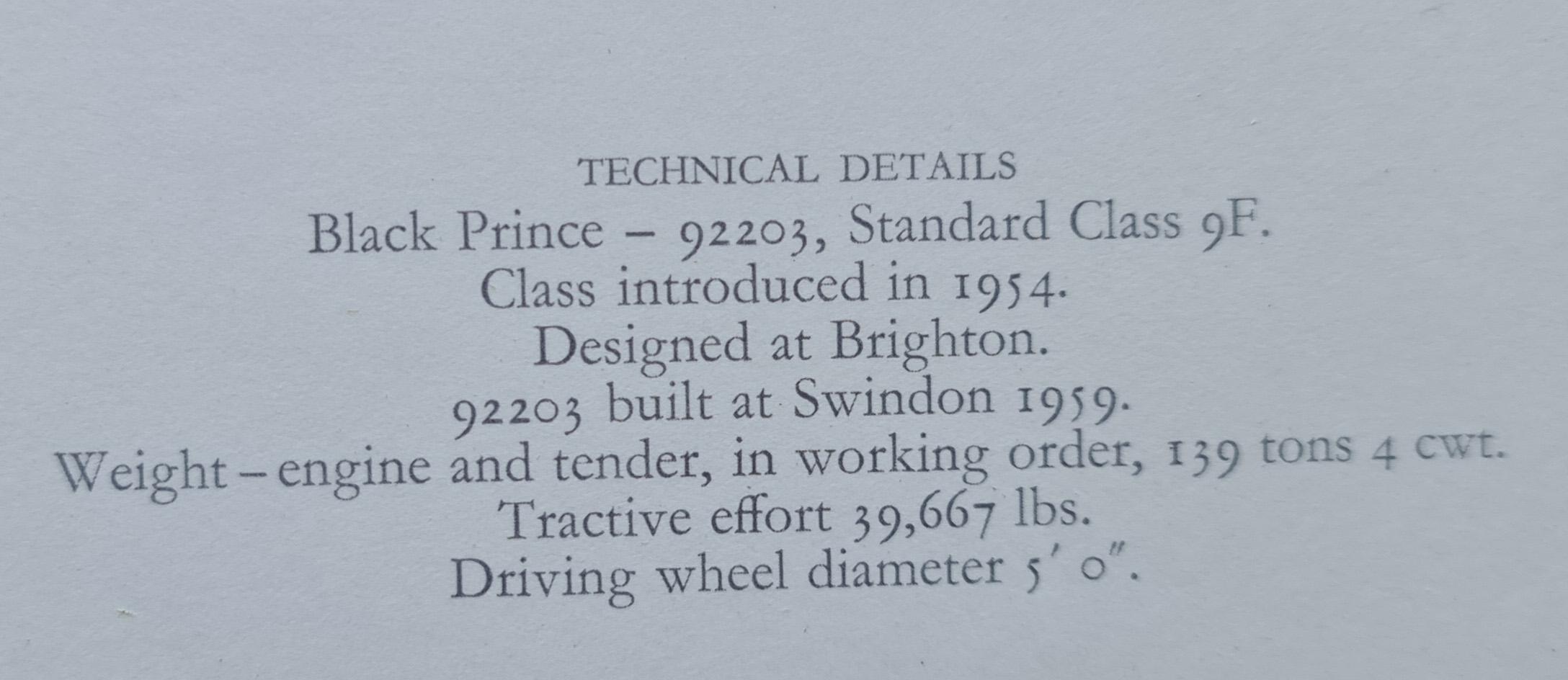 black prince technical details