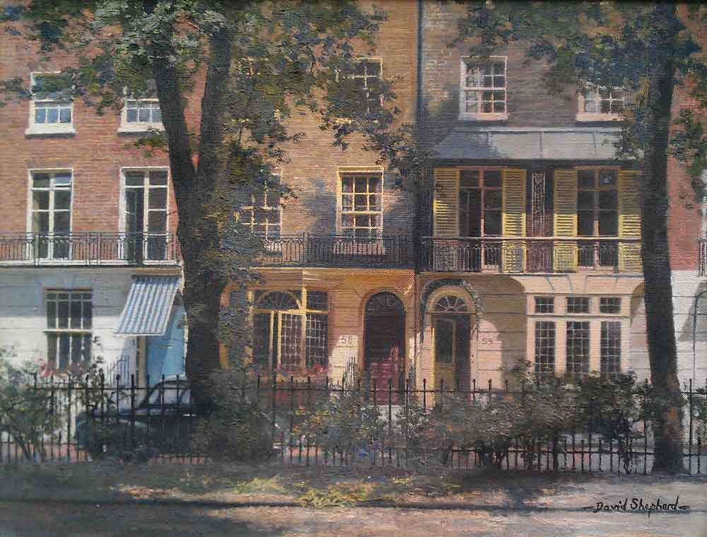 david shepherd, Brompton Square, London SW3, painting