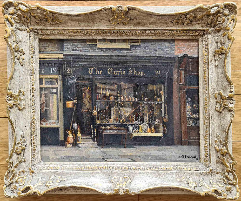 david shepherd original, The Curio Shop, Shepherd street, Mayfair, London, painting