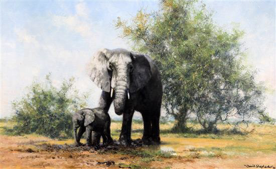 david shepherd elephants and acacia original sold