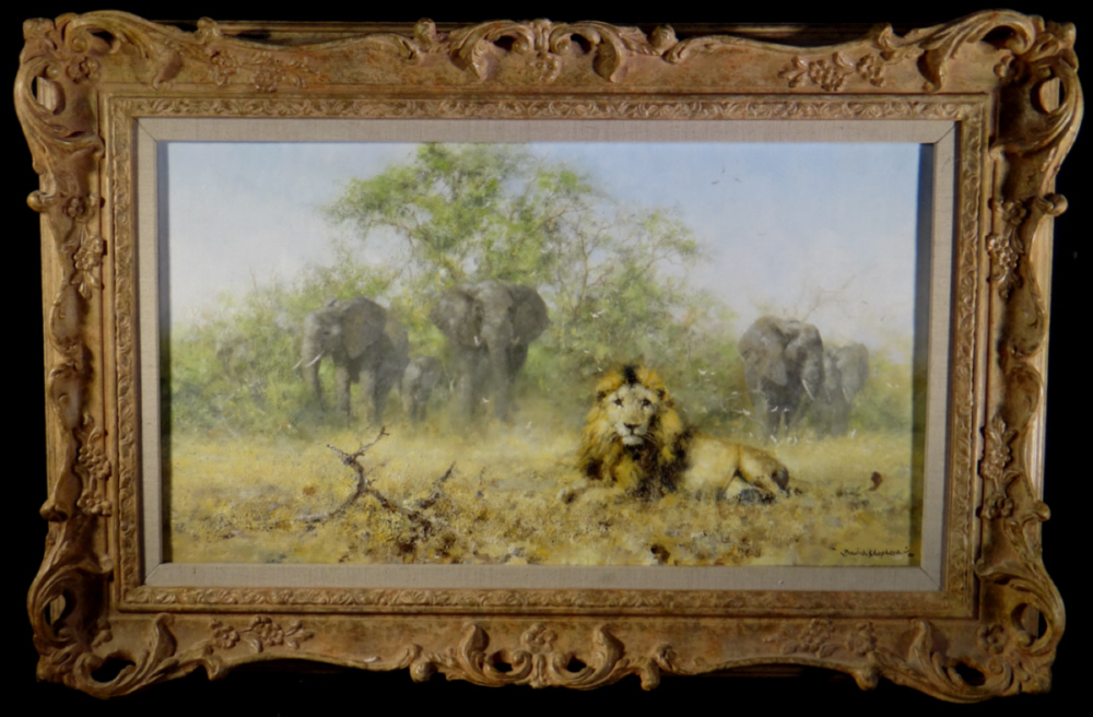 david shepherd original, Elephants and Lion, painting