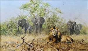 david shepherd, painting elephants and lion