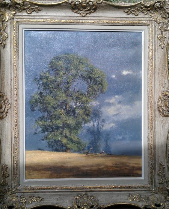 david shepherd original, evening light, landscape, painting