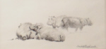 david shepherd, original drawing, hippos