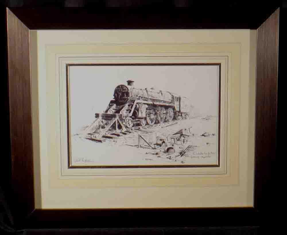 david shepherd original, ink, train