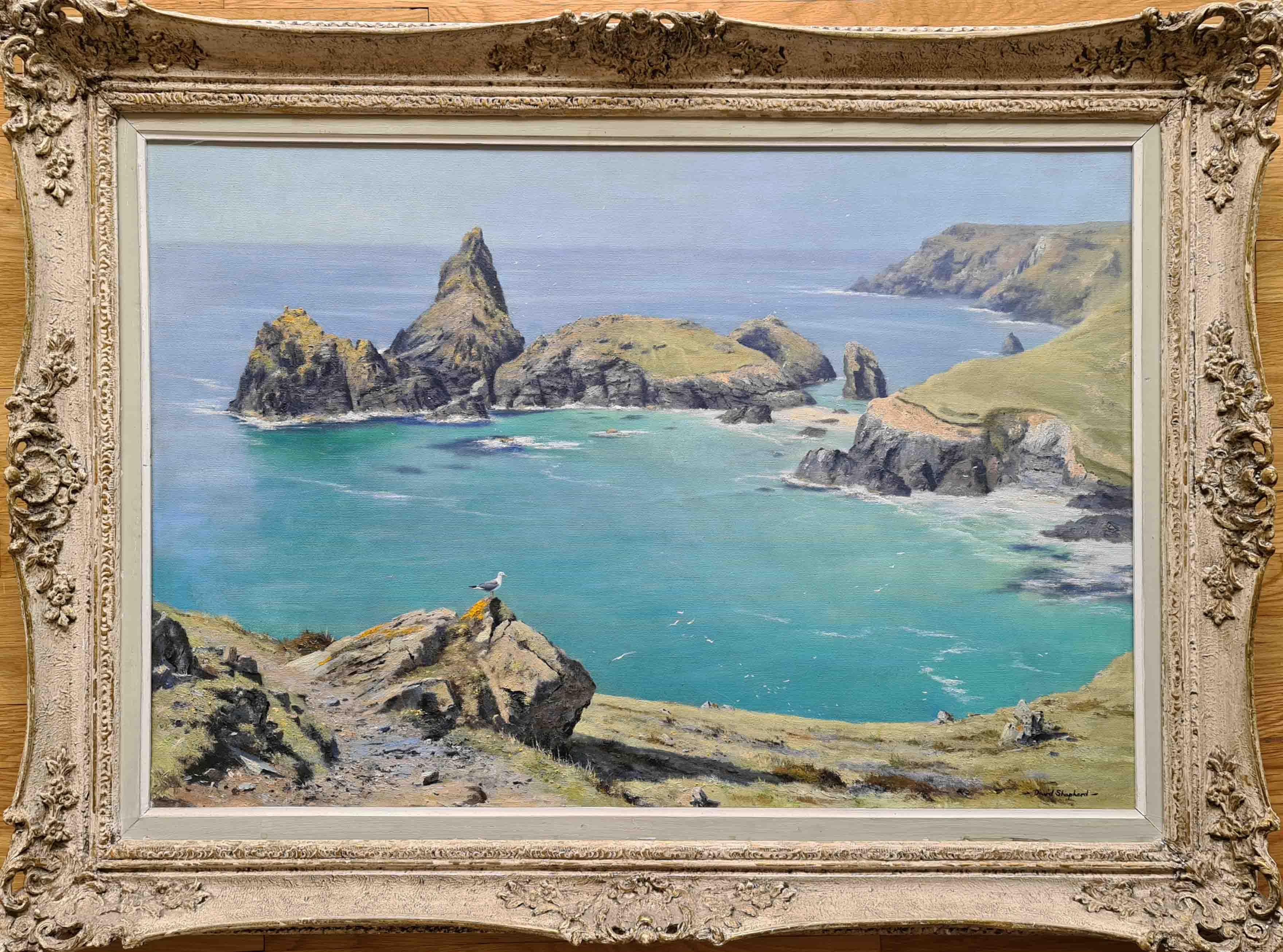 david shepherd original, Kynance Cove, Cornwall, England, painting