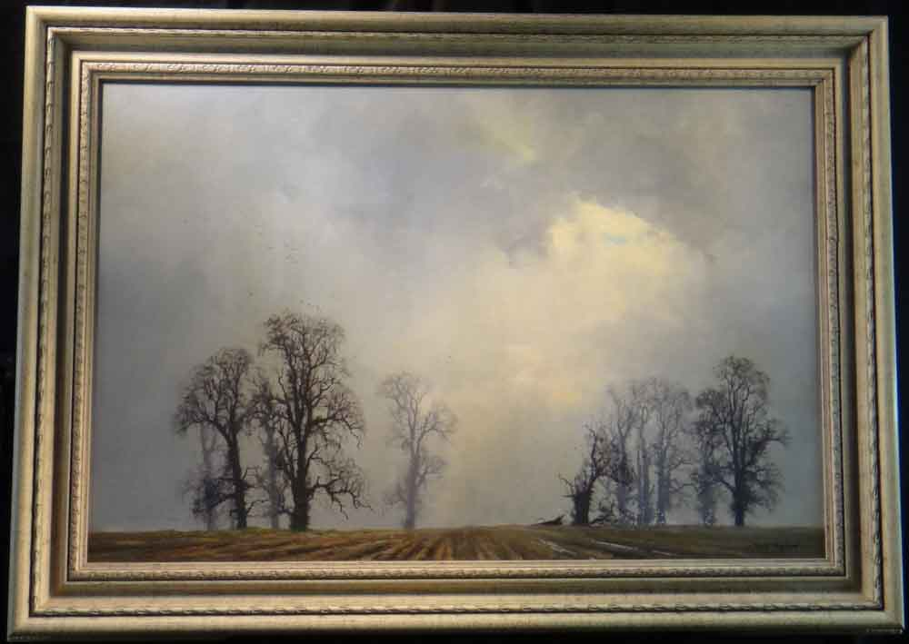 david shepherd  landscape oak painting framed