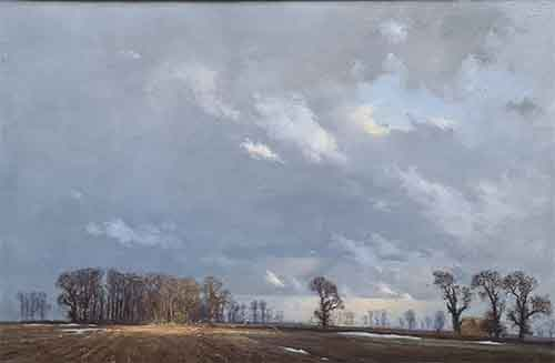 david shepherd, painting, landscape study of clouds and sunlight