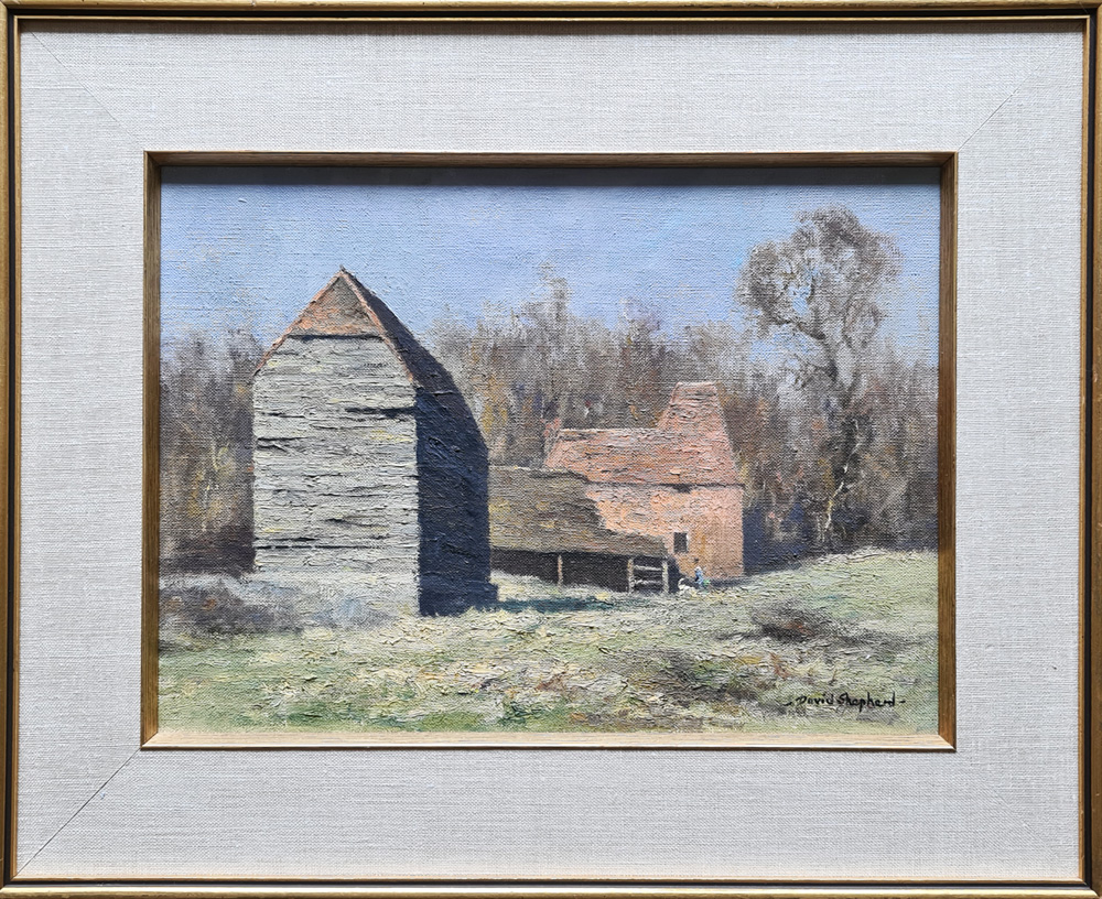 david shepherd original, landscape with buildings, painting