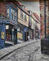 old street, david shepherd, original, Oil Painting on canvas