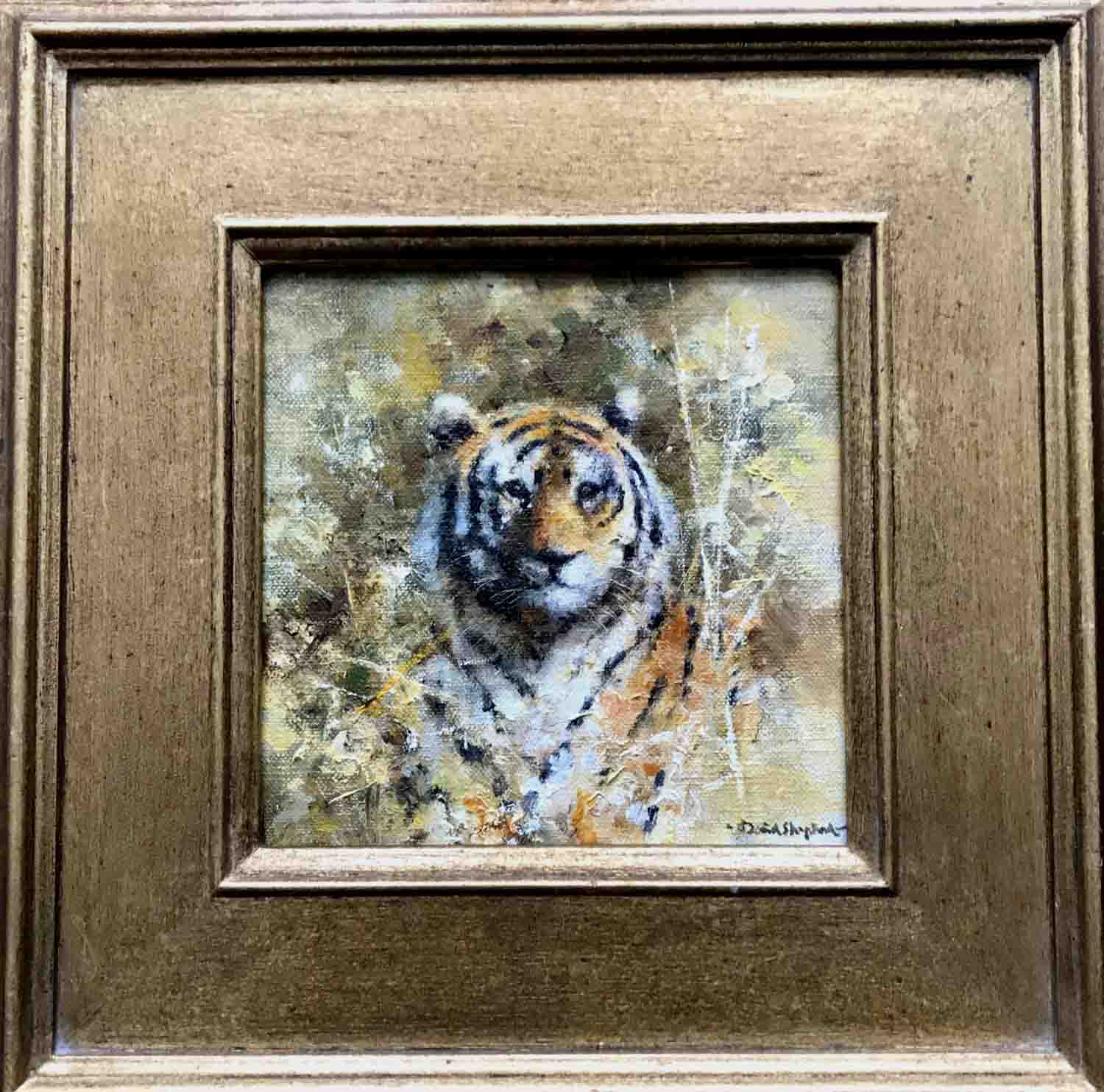 david shepherd original, tiger's head, painting