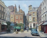 david shepherd original painting, shepherd street, Mayfair, London, landscape