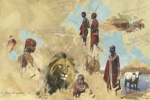 David Shepherd studies of masai
