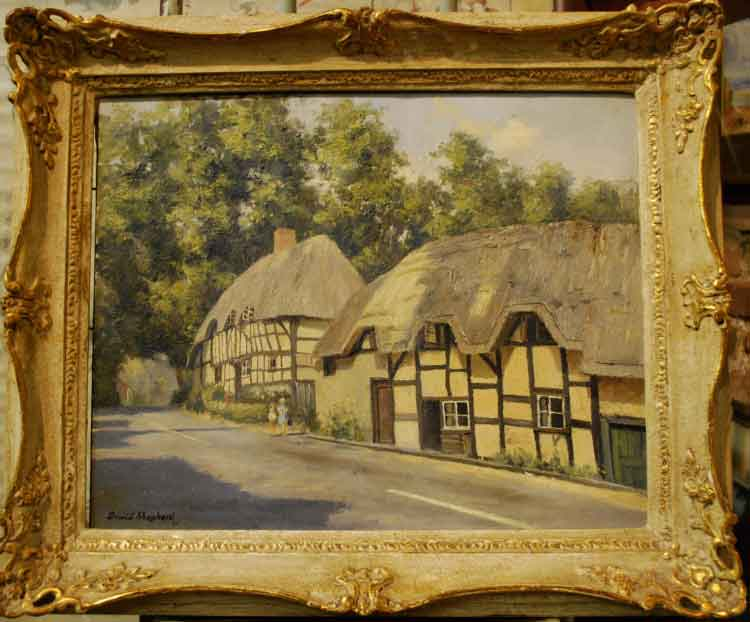 david shepherd original, thatched cottages, wherewell, hampshire, painting
