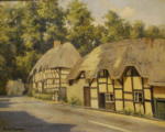 david shepherd original painting thatched cottages Wherwell
