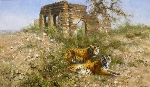 david shepherd original painting tigers of ranthambore