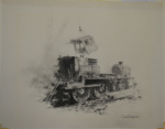 david shepherd, original, drawing, steam train, breakers yard