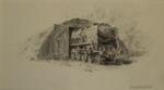 david shepherd, original, drawing, steam train