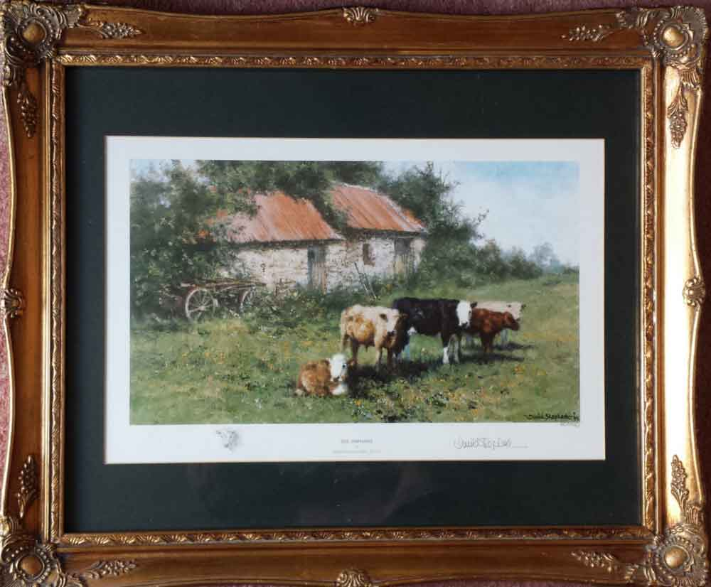 david shepherd  orphans, cows, cattle print framed