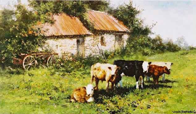 david shepherd  orphans, cows, cattle print