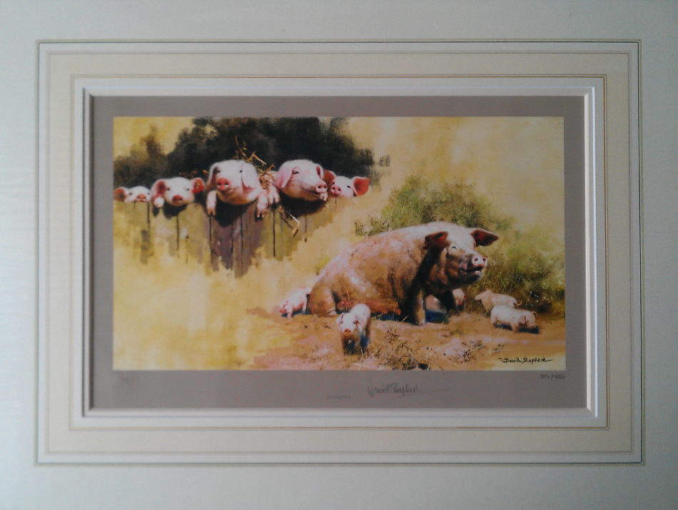 david shepherd, porkers, pigs, print