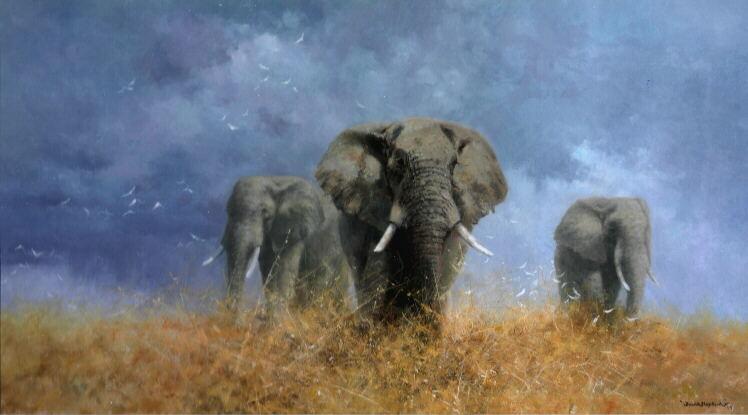 david shepherd savuti elephants giclee