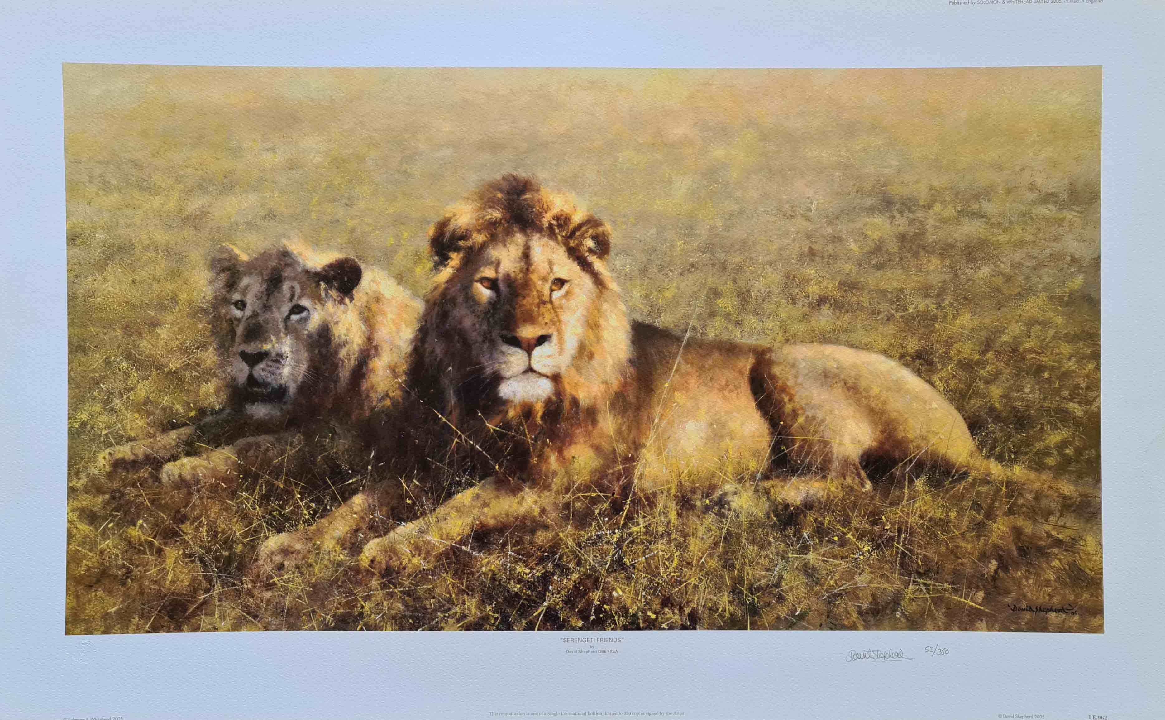 david shepherd signed limited edition print Serengeti friends mounted