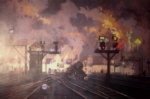 david shepherd, service by night, steam trains